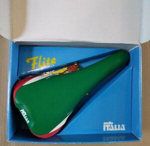 NOS BNIB vintage Selle Italia Flite Titanium saddle Italian Tricolor 90's