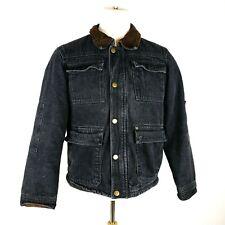 Wrangler Black Denim Sherpa Lined Trucker Jacket Size Small Snap/Zip