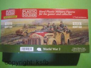 1:72 Plastic Soldier V031 WKII 3x deutscher Steyr Wagen Fahrzeug + Besatzung