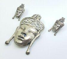 Vintage Fine Sterling Silver Tribal Dayak Indonesian Mask Brooch & Earrings Set