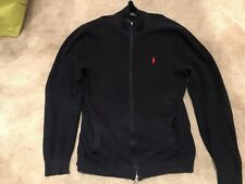 Polo Ralph Lauren Rib Knit Cotton Jersey Navy Blue Jumper Full Zip Sweater Large
