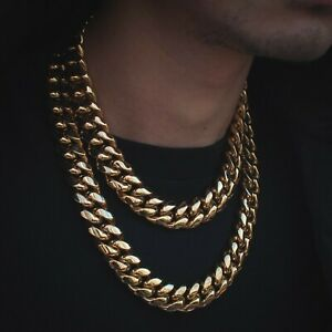 18mm Mens Miami Cuban Link Chain Real 18k Yellow Gold Solid Lifetime Warranty