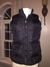 Womens Small•OLD NAVY DOWN Filled Black PUFFER vest•Warm Fleece Lined>pockets