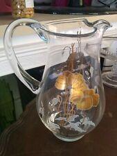 Art Nouveau Glass Water Pitcher Gold Gild Poppy Flower