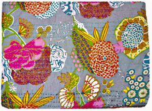 Indian Handmade Floral Print Throw Blanket Bedspread Cotton Kantha Quilt Throw