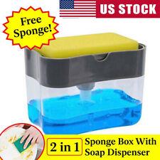 2in1 Kitchen Liquid Soap Pump Dispenser Sponge Holder Dish Press Countertop Rack