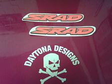 GSXR srad dayglow Rojo y Negro Par Asiento Unidad Carenado Calcomanías Gráficos Pegatinas