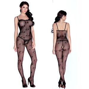 ILAVO® Erotischer Bodystocking mit süßem Herzchen Muster - Body aus Netz ZM50-79