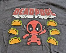 Pre-owned Marvel mini Deadpool and tacos T-shirt medium gray