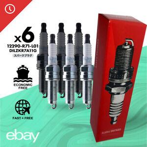6PCS Iridium 12290-R71-L01 Spark Plug DILZKR7A11G For Honda Accord V6 Odyssey TL