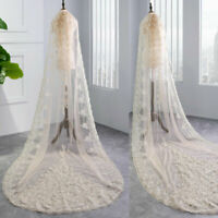 White Ivory Champagne Wedding Veil With Comb Cathedral Length Lace Appliques New