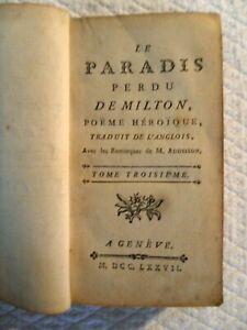 Le paradis perdu de Milton, poème héroïque. Genève 1777