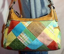 FOSSIL Medium Patchwork Canvas Brown Leather Shoulder Hobo Tote Slouch Purse Bag