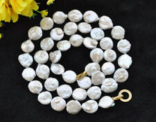 "Freshwater Pearl Necklace Cz P7683 33"" 15mm White Coin"
