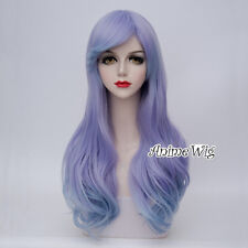 Angelic Lolita Purple Mixed Blue 65CM Long Curly Cosplay Party Hair Wig+Wig Cap