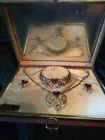 Beautiful Vintage Kip Kreation Red & Pearl Necklace Bracelet Earring Set in Box