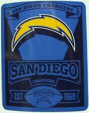 """Blanket Fleece Throw NFL San Diego Chargers NEW 50""""x60"""" with protective sleeve"""