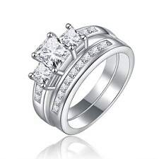 Engagement Size 10 For Women Rare 2Pcs Stainless Steel White Sapphire Ring Set
