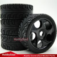4pcs New 1/8 RC On road Buggy Rubber Tires Tyres & Hex 17mm Wheels Rims W/ Foam