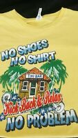 Tiki Bar T-Shirt Men's 2XL No Shoes No Shirt Yellow Graphic Shirt Short Sleeve