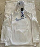 NWT Nike Men's Therma Graphic Hoodie 931994-100 Size 2XL XXL  WHITE/BLUE