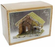 Traditional Rustic Stable Barn Christmas Decoration For Nativity Figures