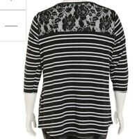 womens bobbie brooks Lace back 3/4 sleeve scoop neck black white striped shirt