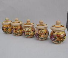 set 5 barattoli porta spezie bombati in ceramica di Vietri con decoro AUSTRIA