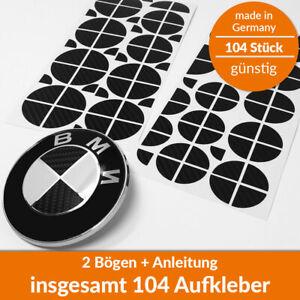 104x BMW Aufkleber Carbon 4D Ecken Emblem Logo - Felgen Tuning 1 2 3 4 5 6 M X