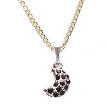 Enigmático Negro Diamanté Media Luna Colgante Collar Cadena de Metal Cromado/ZX153