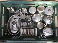 21 Pieces of Vintage Stainless Steel Old Hall Gense Sweden Denmark Satinsteel