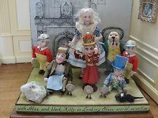 "SALE:Artisan Eunice Tuttle ""Alice in Wonderland"" OOAK 7 Porcelain Doll Vignette"