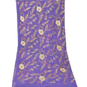 Sanskriti Vintage Dupatta Long Stole Pure Chiffon Silk Purple Hand Beaded Veil
