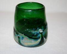 HAND BLOWN ART DECO GREEN SWIRL GLASS VASE / TUMBLER              Stock #4
