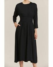 Black Crane Wool/Blend Wide Leg Jumper With Belt Size L, NWT (WD--21)