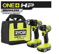 "Ryobi PSBCK01K ONE+ HP 18V Brushless Compact 1/2"" Drill & Impact Driver Kit"