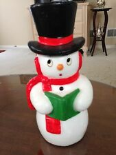 Large Vintage Snowman Candle with Black Top Hat and Holly