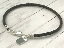 Mens Leather Bracelet, Sterling Silver Dog Tag Charm, Brown Braid, Gift for Men