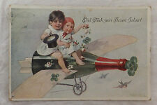AK NEW YEAR TWO Toddlers on Flyer Champagne Bottle 1911