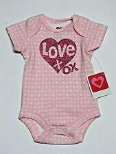 LOVE Glitter Heart XOXO Bodysuit Baby Girl Newborn Infant Romper 0-3 Months