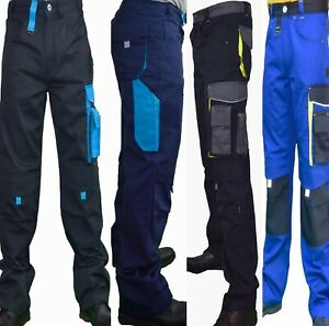 Mens Work Trousers Combat Cargo Knee Pad Pockets Black Grey Navy Blue Pant 30-46
