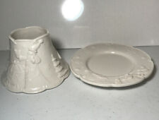 Yankee Candle Jar Candle Topper and Plate Christmas White Spaghetti Frosted