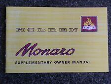 HOLDEN 1968 HK MONARO ''SUPPLEMENTARY'' OWNERS MANUAL.  100% GUARANTEE.