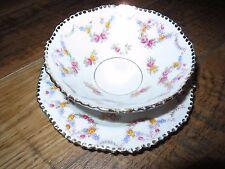 Vintage Royal Stafford Rose Garland bone china soup & saucer, white w pink roses