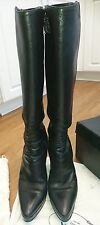 High Heels, Under Knee High, Black thick and soft Leather Prada Boots