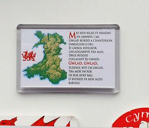 Welsh National Anthem and Map - Fridge Magnet - 75mm x 54mm