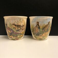 Pair of Vintage Escoffier of Scotland Sandland Ware Egg Cups with Pheasants