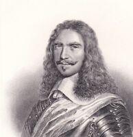 Portrait XIXe Turenne Henri de la Tour d'Auvergne Vicomte de Turenne