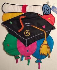 Graduation Hat Diploma Party Balloons Applique Mini Window Garden Yard Flag New