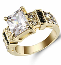 USA Seller 104 - White Topaz CZ Gold Rhodium Plated Ring Women's - Size 9